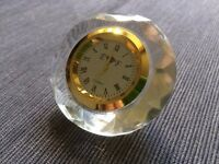Crystal Collectors Novelty Clock (Gold Tone Border in Crystal Housing) 62716