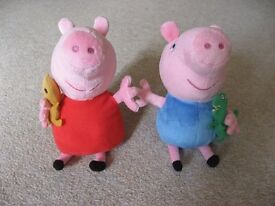 "Peppa & George 6"" TY soft toy cuddly beanies."