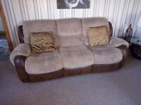 3 seater sofa with recliners cuddle chair and footstool excellent condition 6 months old