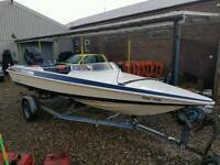 challenger speed boat 85hp force outboard engine roller coaster trailer £1100 spares or repairs