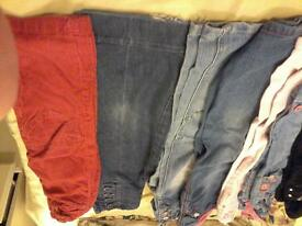 7 pairs of Girls 5-6 jeans and 2 pair cords