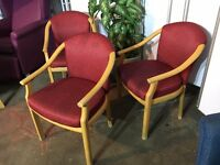 3 x Office Chairs/Wooden Frame Office Chairs/Meeting, Reception Chairs/WipeClean