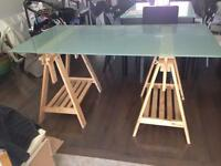 IKEA glass top trestle table