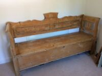 Lovely Antique Pine Tulip Box 3 Seater Settle/Bench