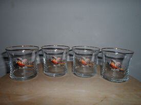 RETRO LARGE FLYING PHEASANT PATTERN WHISKY GLASS TUMBLERS X4