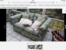 Sofa and armchair with footstool retro style
