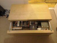 Light pine storage box with sliding lid, £8