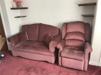 manual Recliner Armchair And two seater sofa