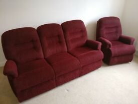 HSL Penrith Petite red/claret three-seater sofa and chair