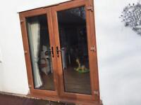 Heritage oak UPVC French doors - only 2 years old!