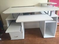 Sturdy White Computer/ Study Desk with pull out shelves and monitor stand