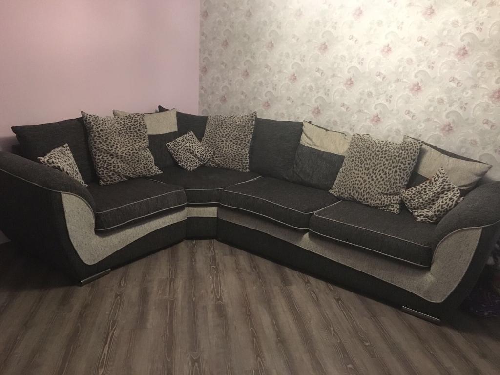 Charcoal Animal Print Corner Sofa