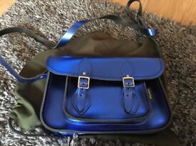 Zatchels metallic blue satchel bag - brand new