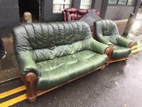 GREEN LEATHER SOFA SET 3 + 1 Armchair with WOODEN FRAME NICE