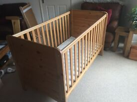 John Lewis 3 in 1 Baby - children's bed / cot complete with baby changing bed and clean mattress
