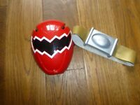 Red Legacy Power Ranger Dinothunder mask and belt excellent condition