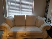 White italian sofa and chair used foe display use only one small mark not noticeable beautiful set