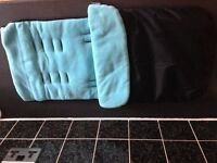 Blue and black foot muff