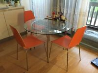 3 Chairs and Glass Table for sale !