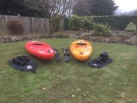 2 Dagger approach 10 kayaks with spray decks and paddles very good condition excellent all rounders.
