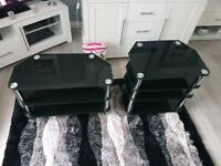 2 black glass units - TV stand and entertainment unit