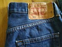 3 prs of never worn Levi 501 jeans 30x32. Dark blue, Light blue and Black.