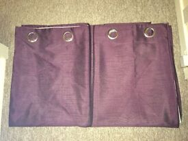 Lined plum coloured curtains
