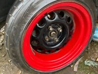 VW MK1 CADDY, MK1 GOLF ETC. BANDED STEEL WHEELS X 4 WITH TYRES, 225/40/14