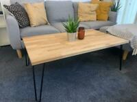 Handmade solid hard oak wooden coffee table with vintage steel legs.