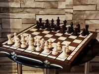 HAND CRAFTED OLYMPIC WOODEN CHESS SET 35 cm x 35 cm