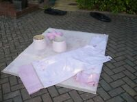 Young Girls Pink Curtains and matching Lamp Shades