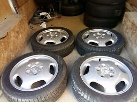 MERCEDES A CLASS ALLU WHEELS WITH TYRES IN GOOD CONDITION. 195/50R15