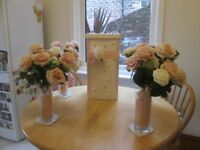 TABLE DECORATIONS-4 X ROSES & VASES, 1 DECORATED PILLAR BOX