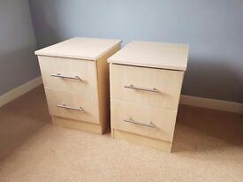Barratt bedside tables ; wood