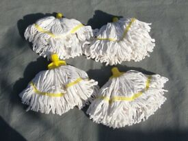 4 yellow banded mop heads . New