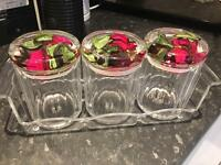 Storage jars with lids and tray