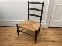Vintage Low Rush Seat Ladder Back Chair