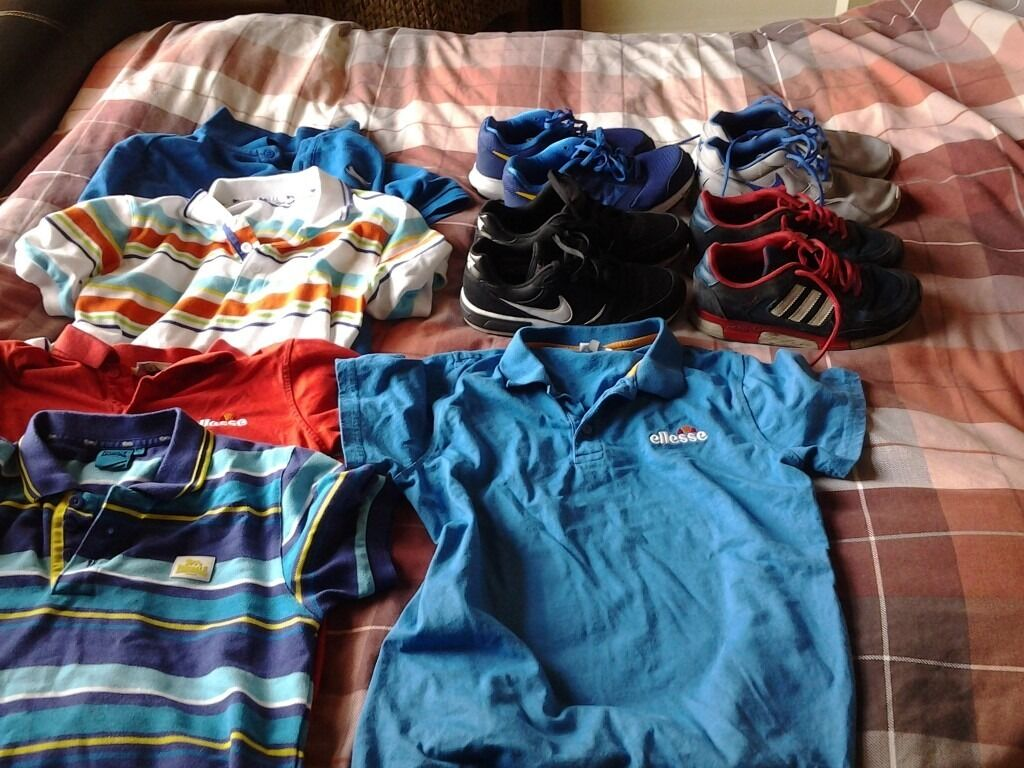 Boys clothes, jackets and trainers . 13th items all together