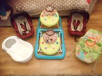 Baby Bundle, 2 car seats ( birth- 15 months), 2 walkers, a bouncer and a baby bath.