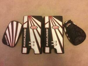 Like NEW Rawlings Kids Street Ball Road Hockey Goalie Kit 14.5 Pads, Catcher and Blocker