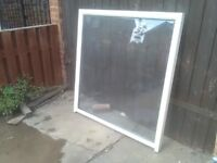 used upvc window aprox 4ft x 4ft white double glazed see through transparrent clear glass