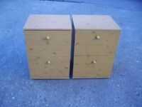2 X WOODEN 2 DRAW PEDESTAL FILING CABINET / BED SIDE CABINETS VERY GOOD CONDITION