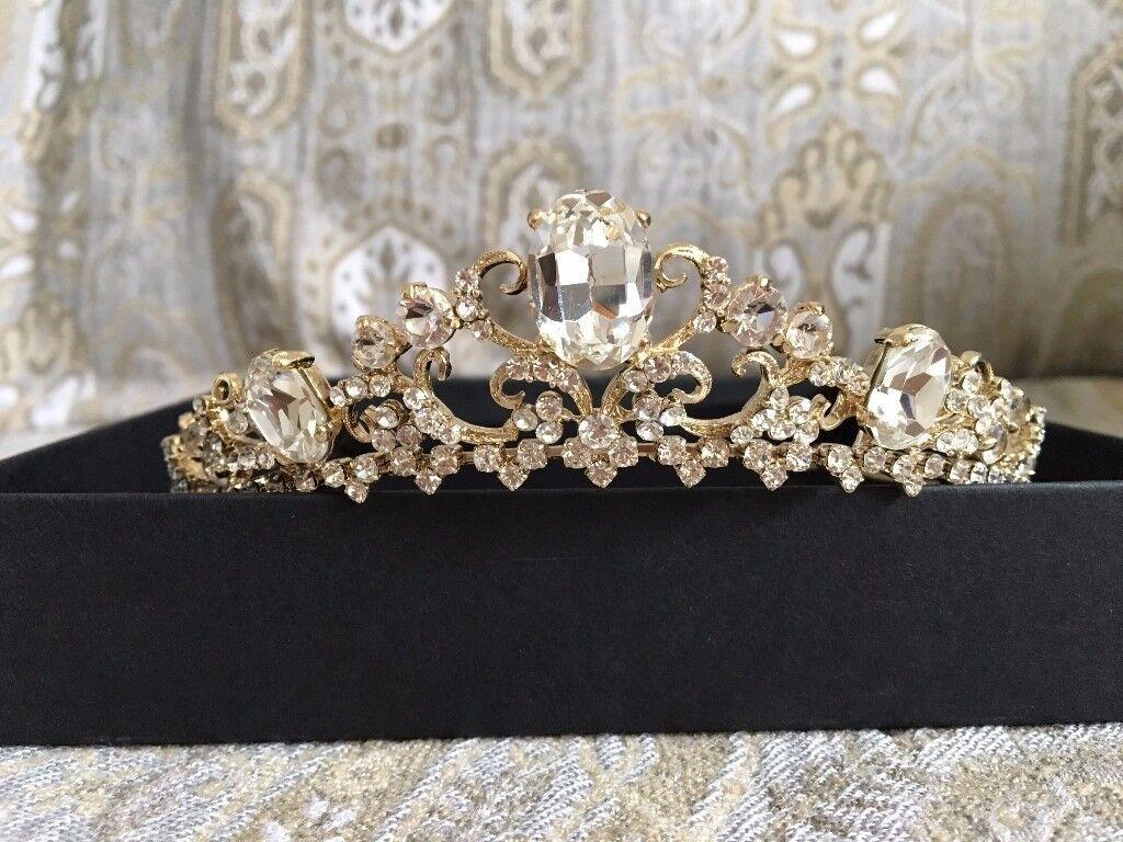 Gold Diamante Wedding Tiara (Olivier Laudus)