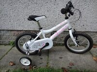 Ridgeback Honey bike with stabilisers 14 inch wheels age 3 to 5 years light weight frame ex con