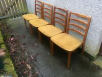 Set of 4 Mid Century Teak Ladderback Dining Chairs By Stonehill
