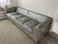 Crushed velvet 4 seater sofa . Needs cushions at back