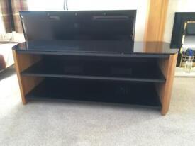 Walnut and black glass tv stand