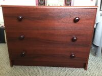"3 drawer chest of drawers. 2' high x 2'6"" wide mahogany, good condition"