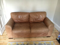 High Quality Brown Leather Sofa and Armchair