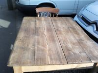 Victorian pine kitchen table and 4 oak kitchen chairs